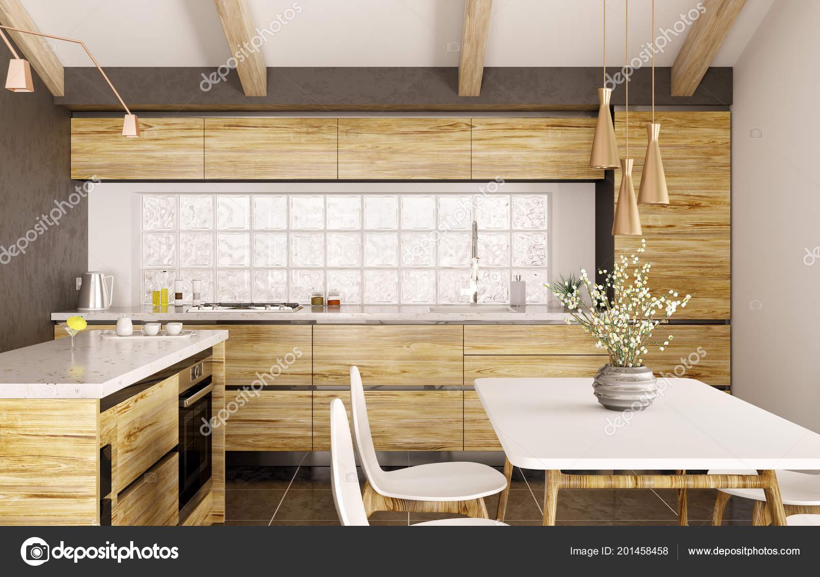 Elegant Design Intérieur Moderne De Cuisine En Bois Avec îlot, Comptoir De Marbre  Blanc, Fenêtre, Table Et Rendu 3d De Chaises U2014 Image De ...