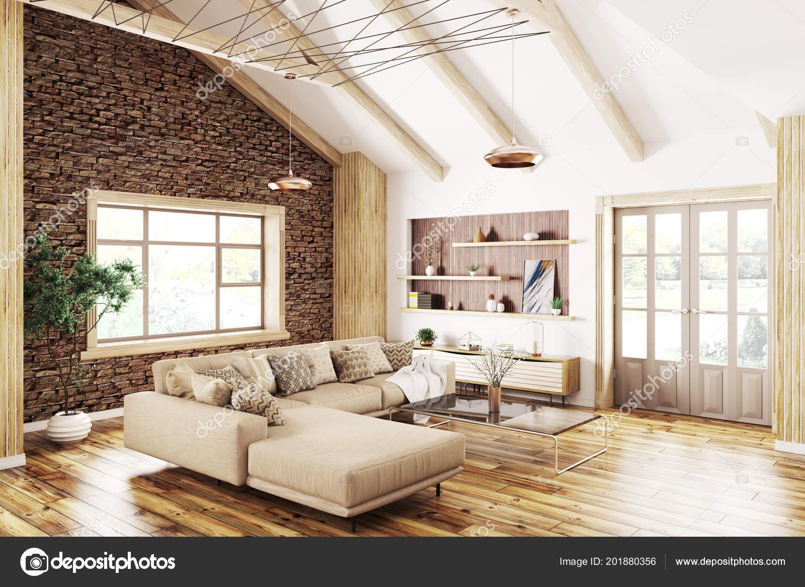 Moderne Innenarchitektur Des Hauses Wohnzimmer Mit Beige Sofa Rendering U2014  Stockfoto