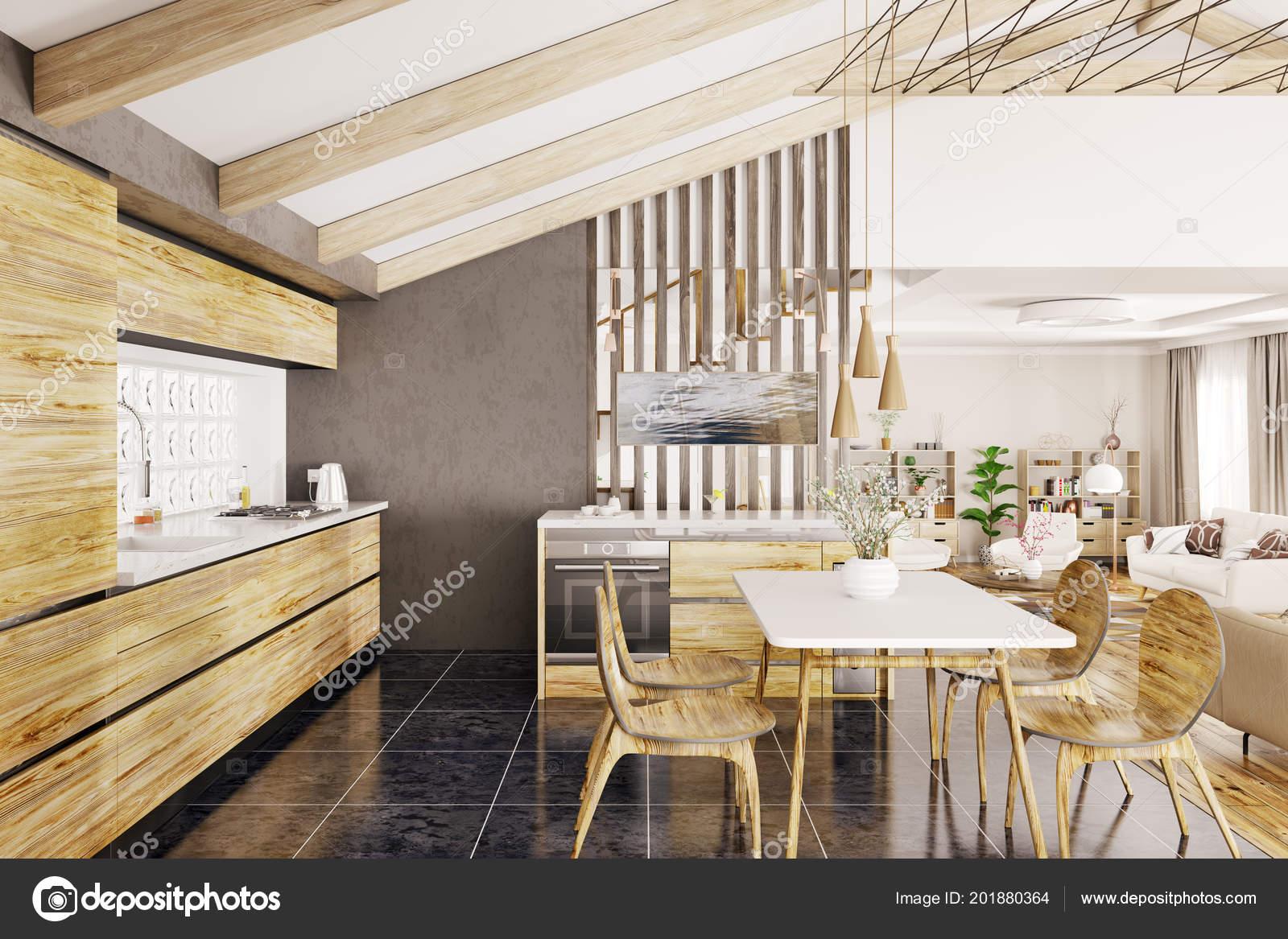 Design Intérieur Cuisine Bois Moderne Rendu Dans Maison ...