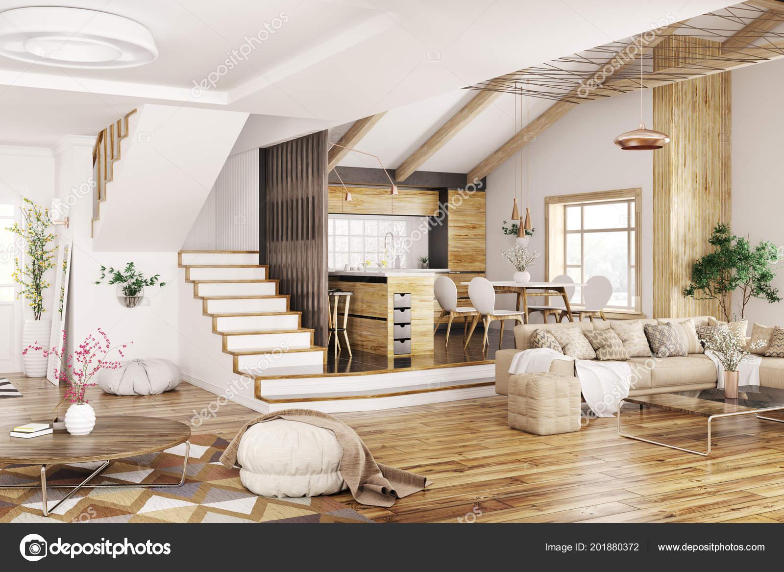 Modernes Design Für Haus Küche Wohnzimmer Mit Sofa Flur Treppenhaus ...