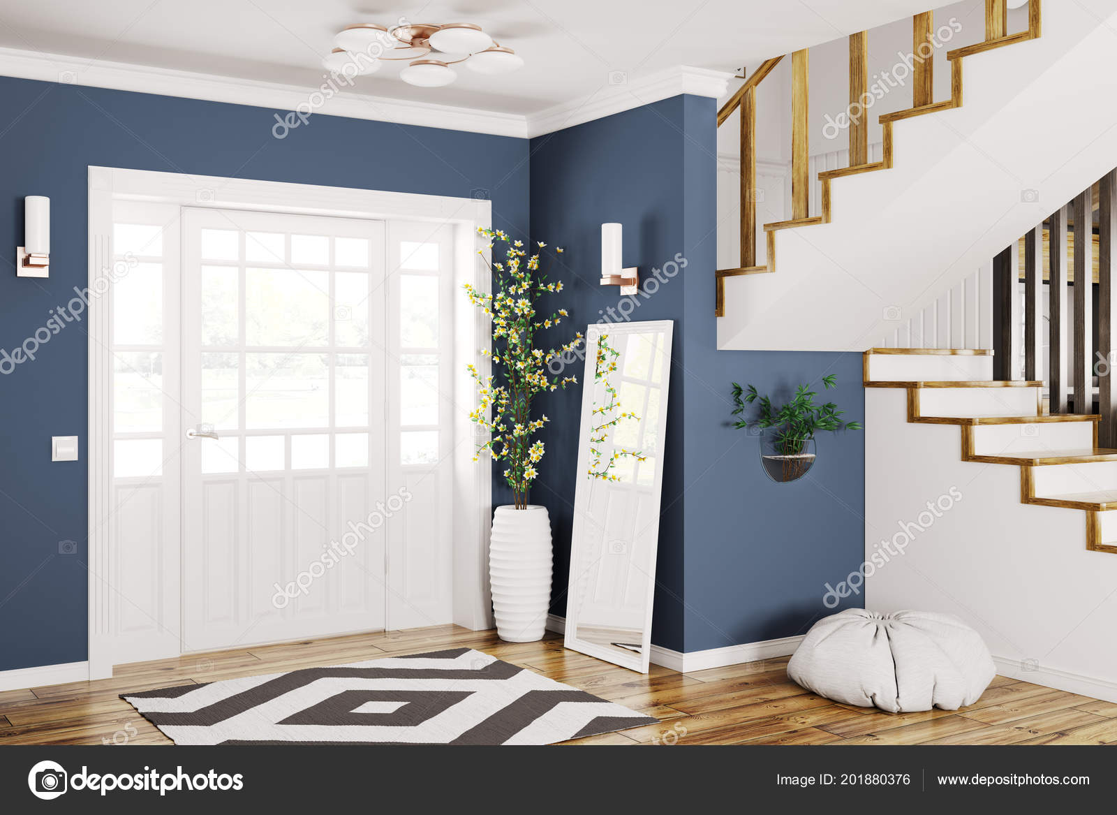 Interior Design Modern Entrance Hall Door Staircase Rendering