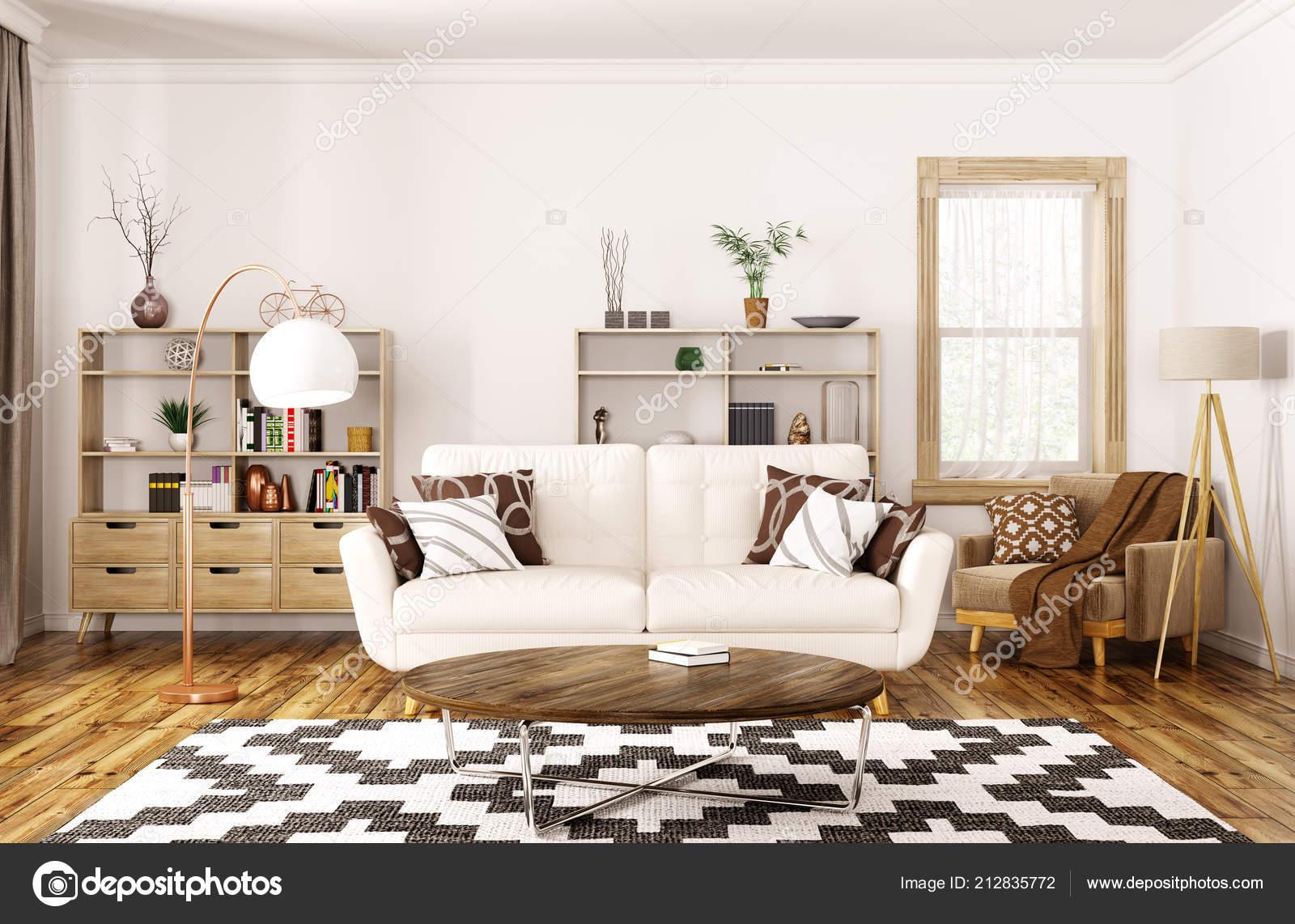 Arredamento moderno della casa soggiorno con divano beige rendering