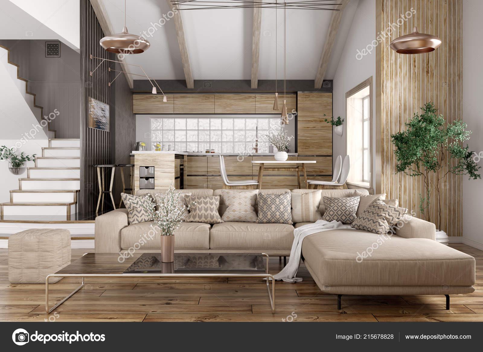Modernes Interieur Des Hauses Kuche Wohnzimmer Mit Sofa Treppe