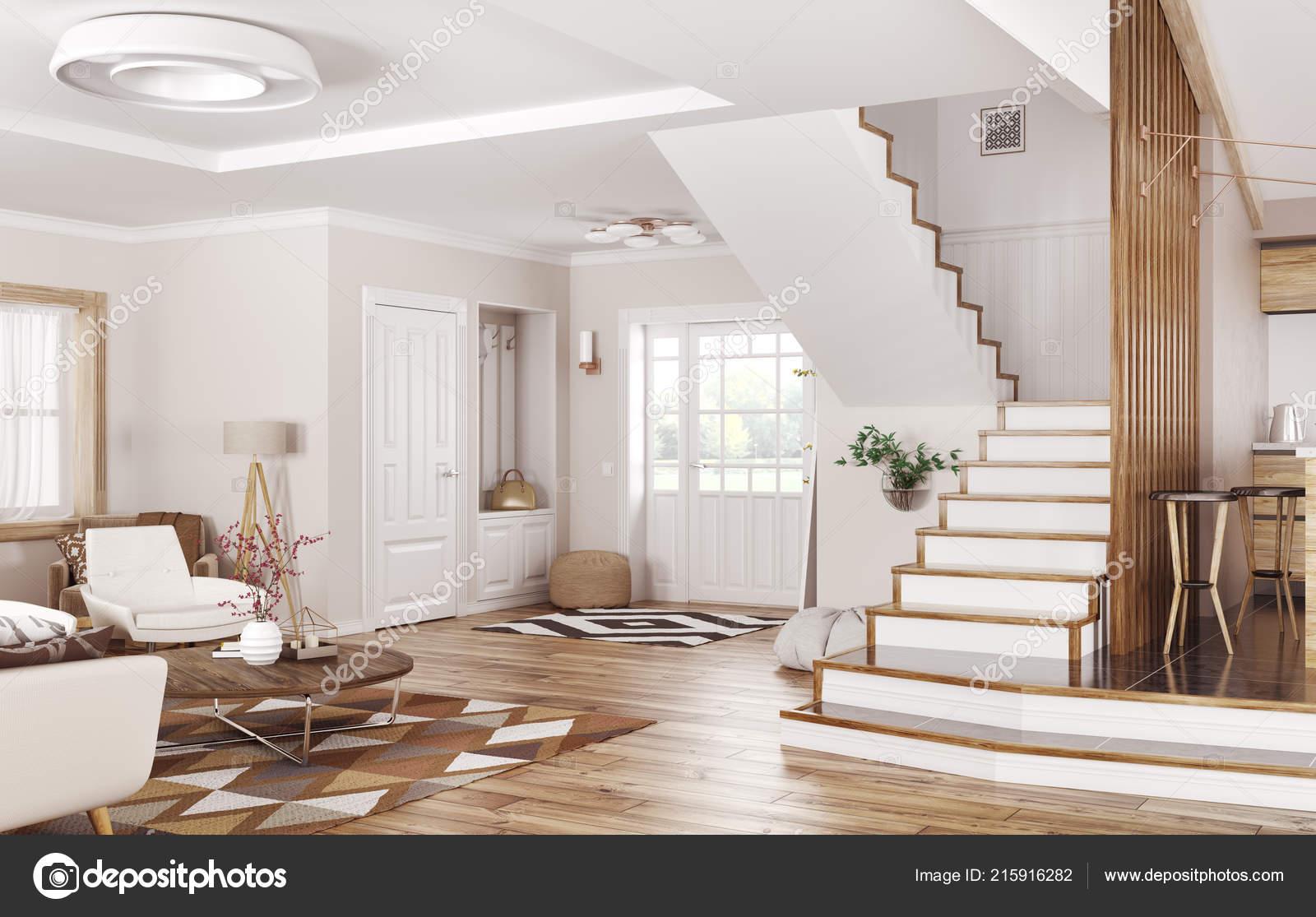 Modern interior house hall living room rendering u2014 stock photo