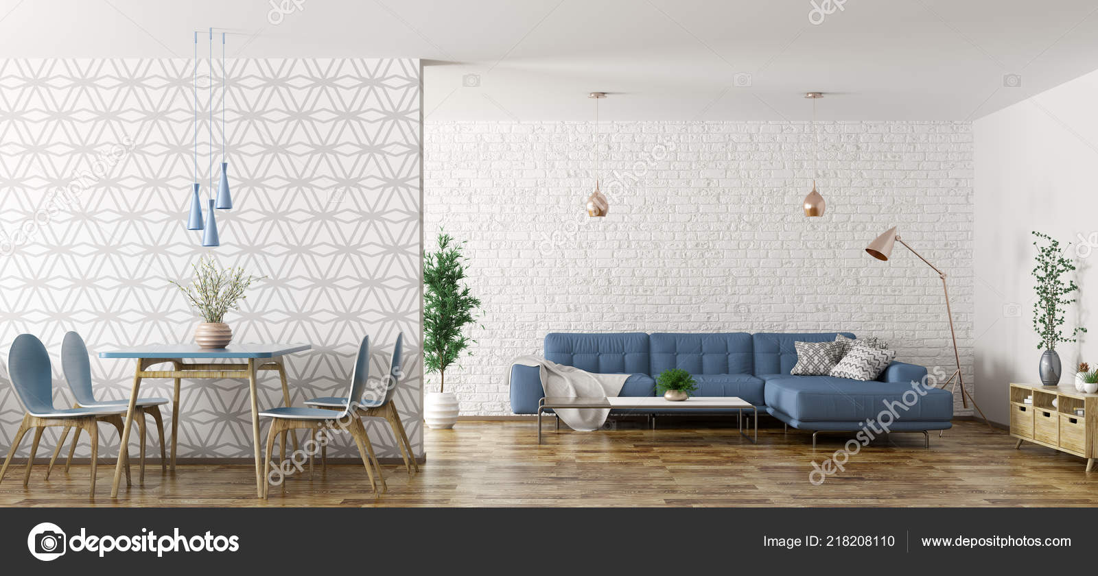 Modern Interior Apartment Living Room Blue Corner Sofa Dining Area Stock Photo Image By Scovad 218208110