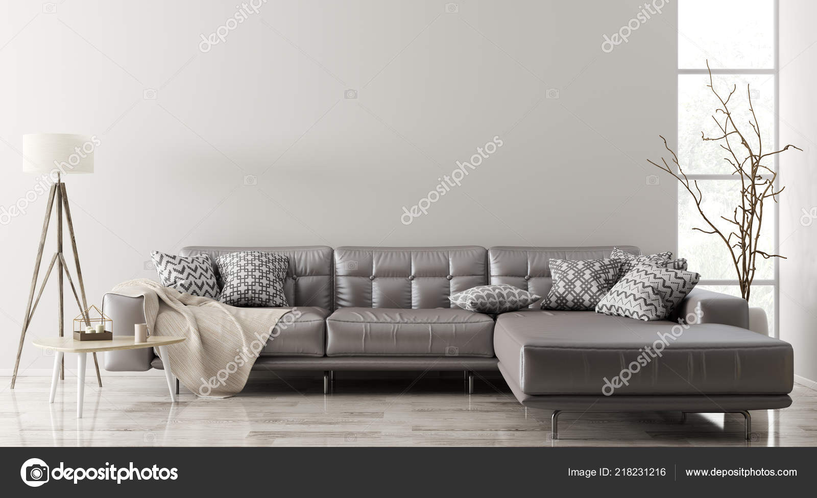 Modern Interior Living Room Brown Leather Corner Sofa Coffee ...