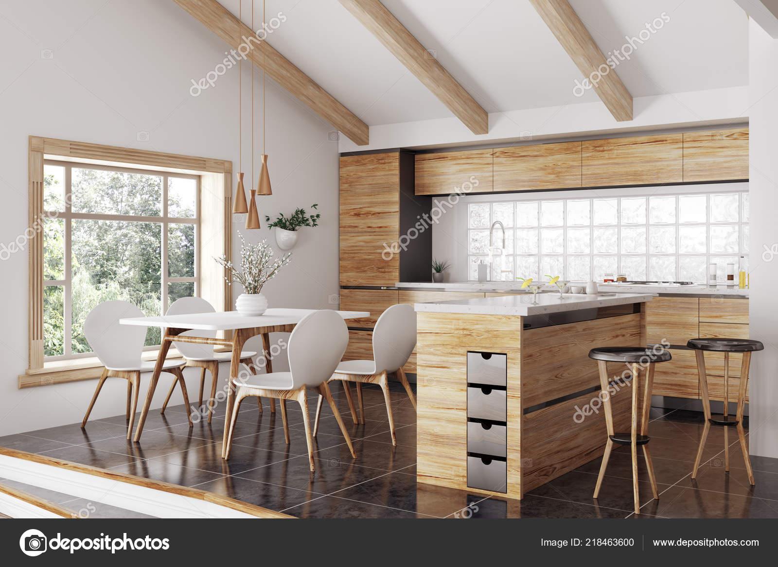 Modernes Interieur Aus Holz Kuche Mit Insel Gelb Und Weiss