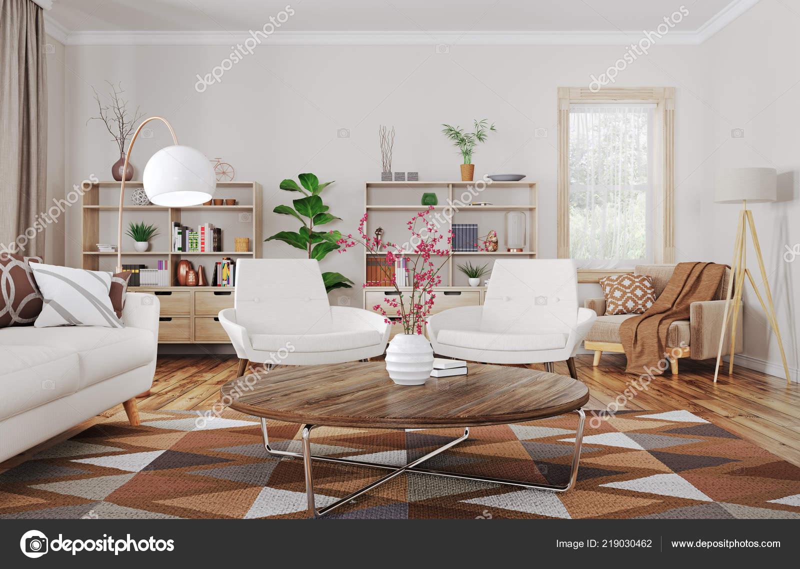 Arredamento moderno della casa soggiorno con divano poltrone