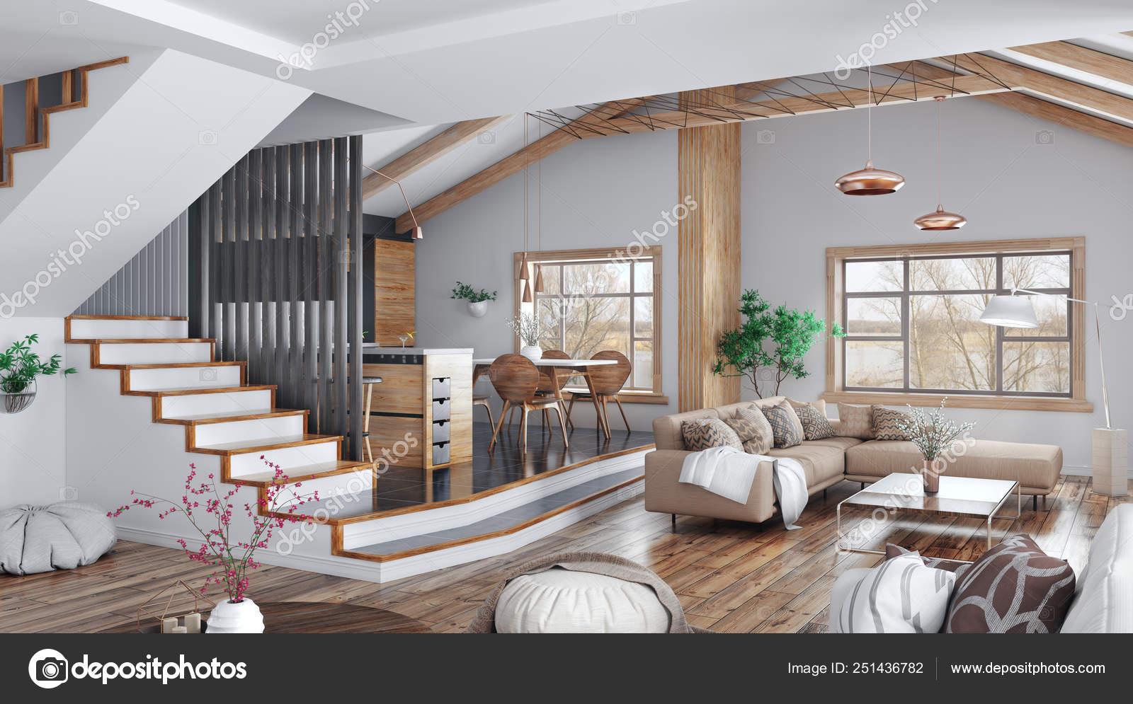 Moderno diseño de interiores de casa, cocina, salón comedor ...