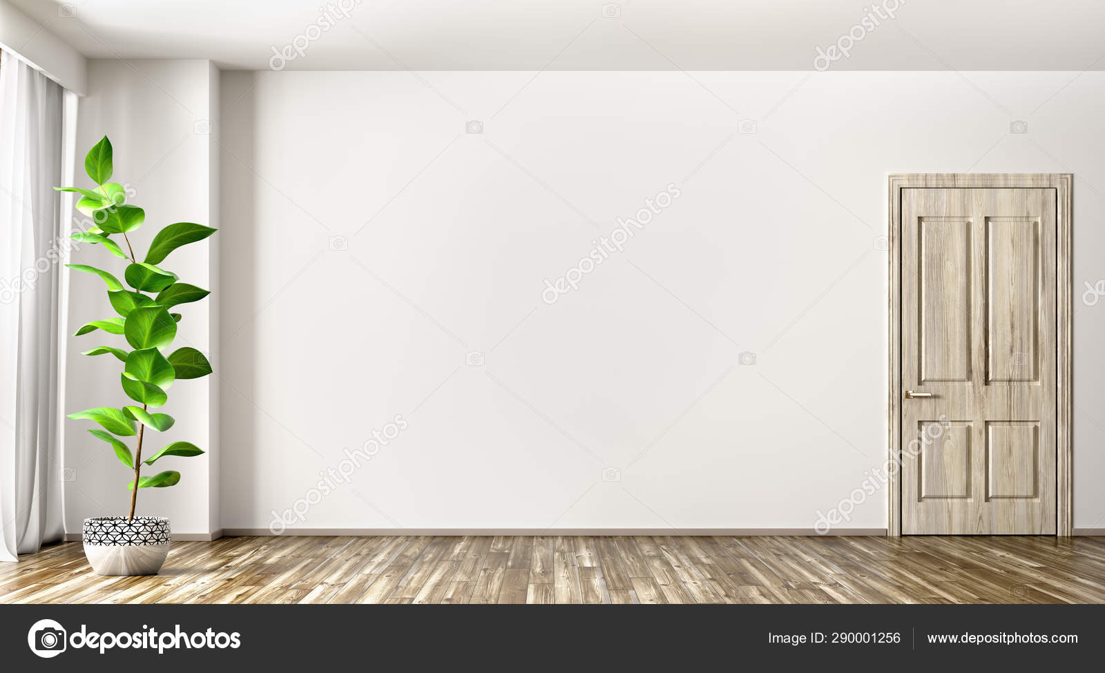 Interior Background Of Living Room With Plant And Door 3d Render Stock Photo C Scovad 290001256
