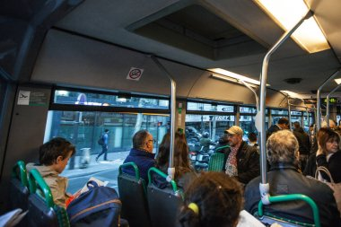 PARIS, FRANCE - OCTOBER, 2016: Passengers inside public bus in paris, transportation in France