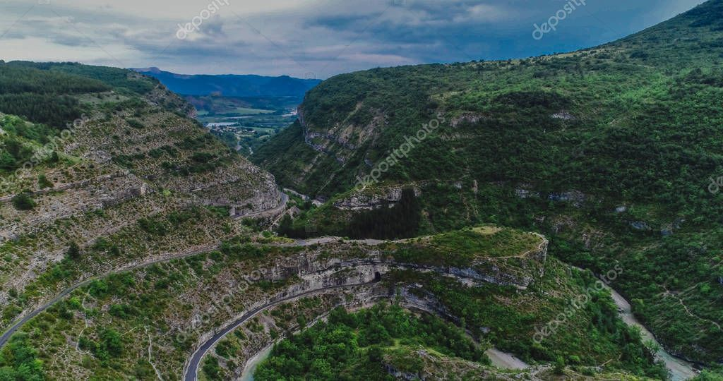 BeautifuBeautiful  Alp mountains top view, France. Taken with drone