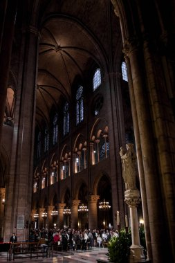 PARIS - OCTOBER 1: Notre Dame de Paris Cathedral Interior on October 1, 2016. Notre Dame construction began in the year 1163 and was completed in the year 1345.