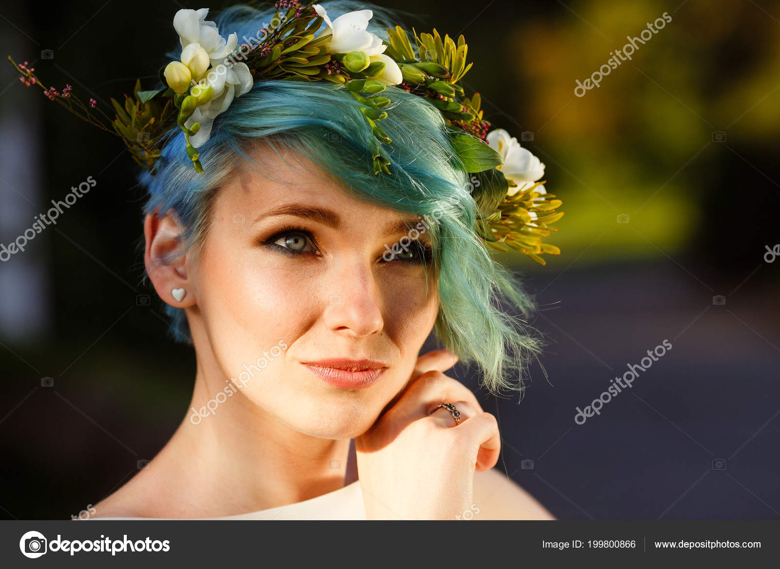 Portrait beautiful bride blue hair wreath real flowers wedding day portrait beautiful bride blue hair wreath real flowers wedding day stock photo izmirmasajfo