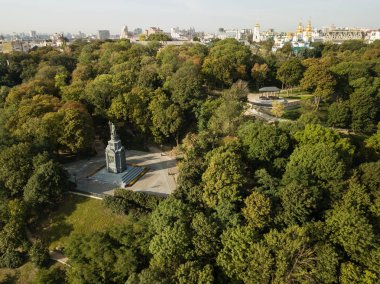 Travel to Ukraine - Aerial view to Saint Vladimir Monument in Kiev city and view of urban park Volodymyrska Hill (Saint Volodymyr Hill, Volodymyrska hirka, Vladimirskaya gorka)