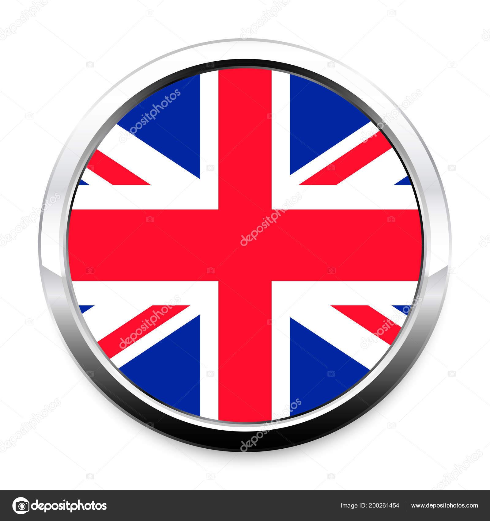 Botón Bandera Gran Bretaña Marco Redondo Metal Cromo Con Una ...