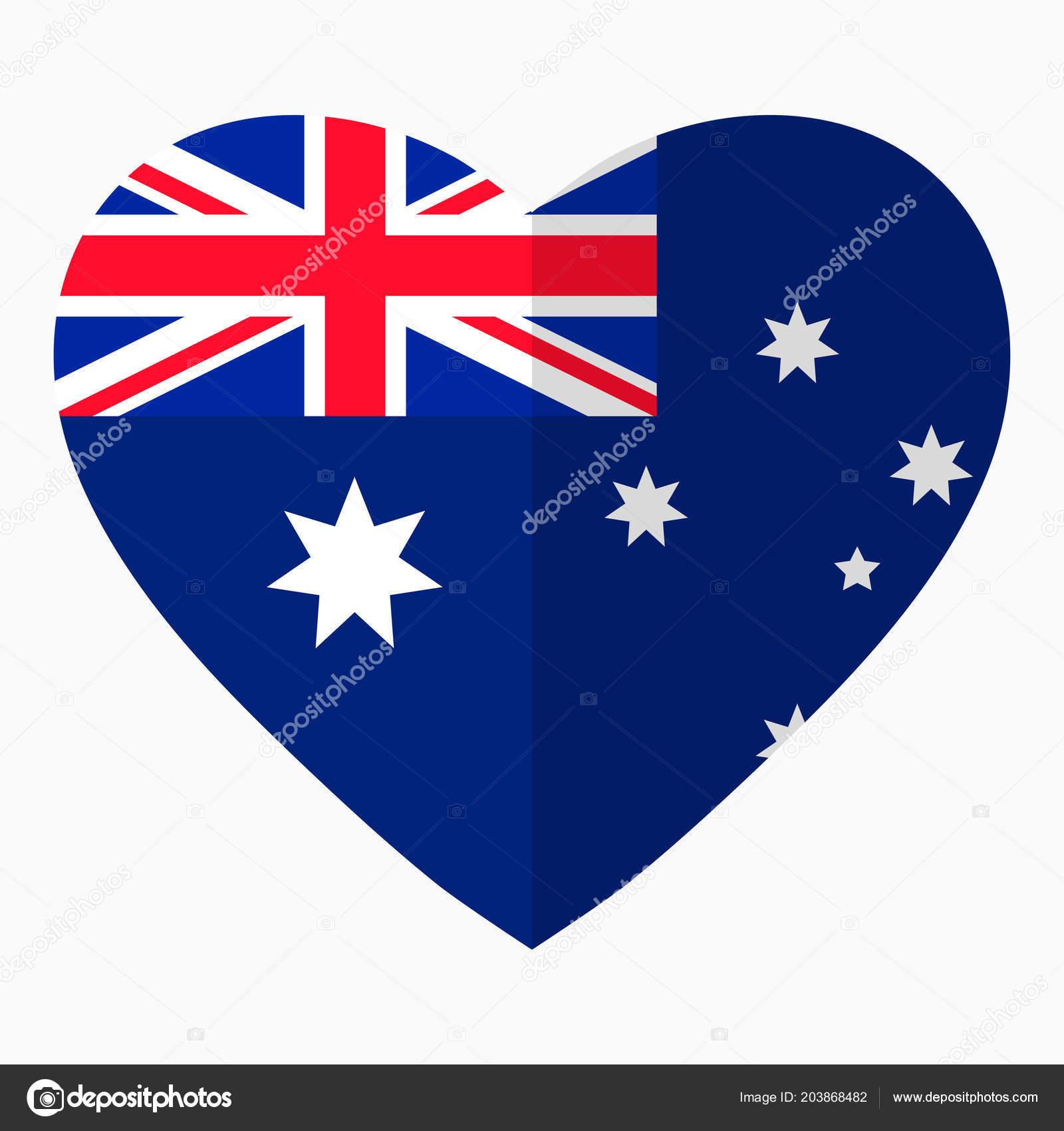 Flag Australia Shape Heart Flat Style Symbol Love His Country