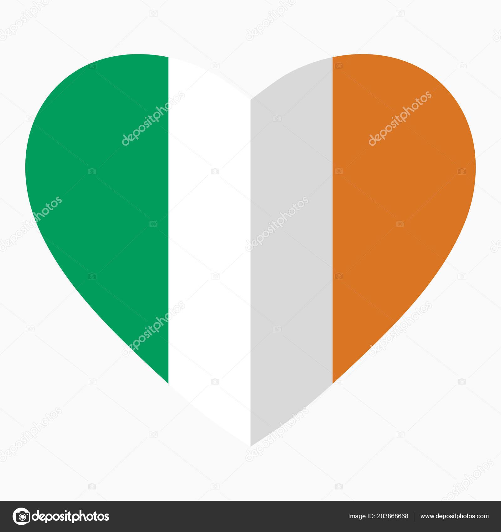 Flag Ireland Shape Heart Flat Style Symbol Love His Country Stock