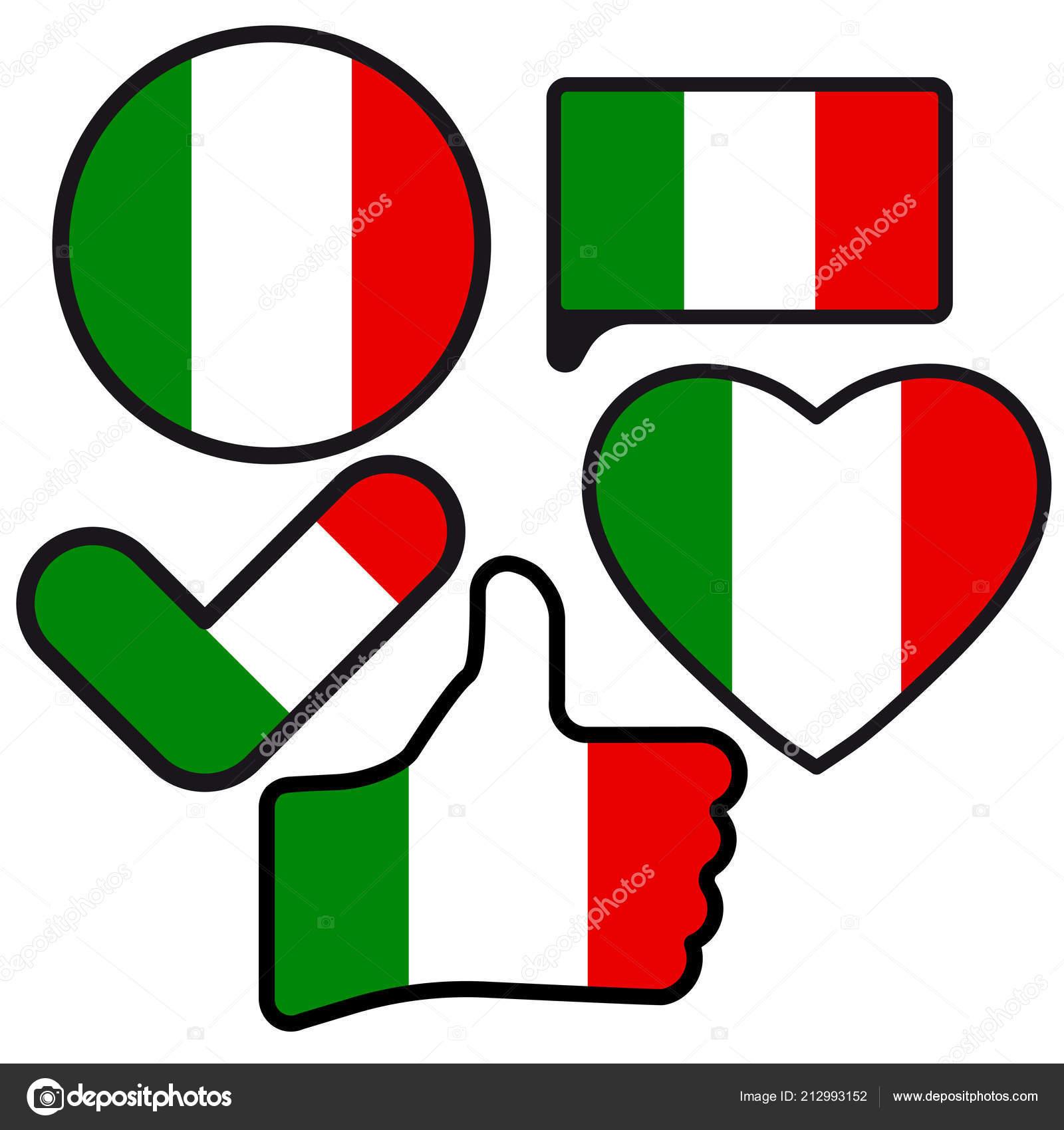 Flag Italy Shape Button Heart Check Mark Flat Style Symbol Stock