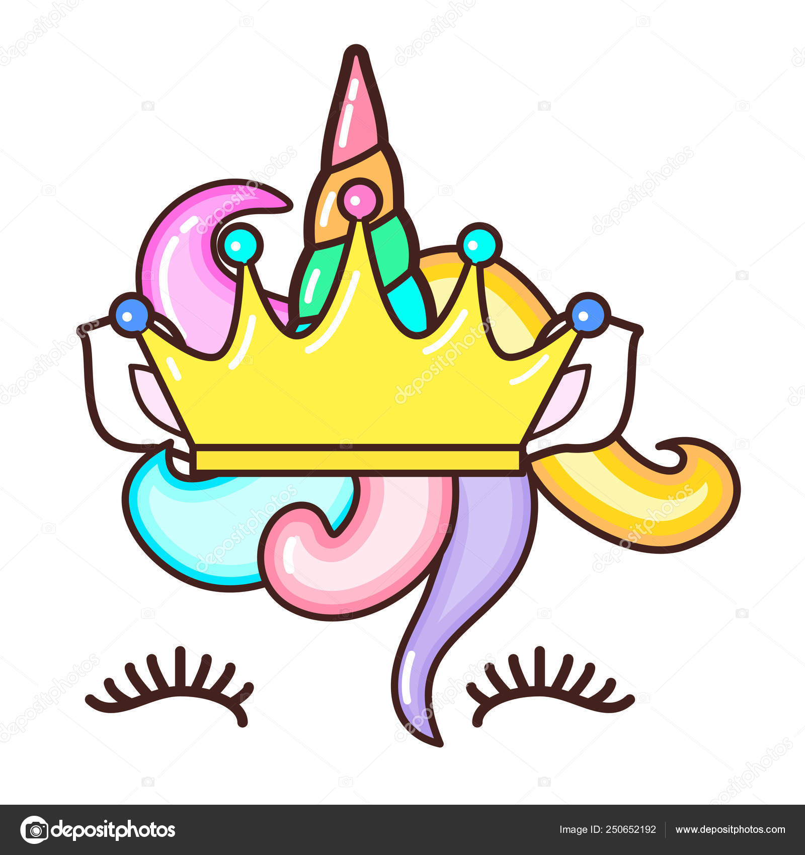 Kawaii Cute Unicorn Horn Funny Colorful Cartoon Stock Vector