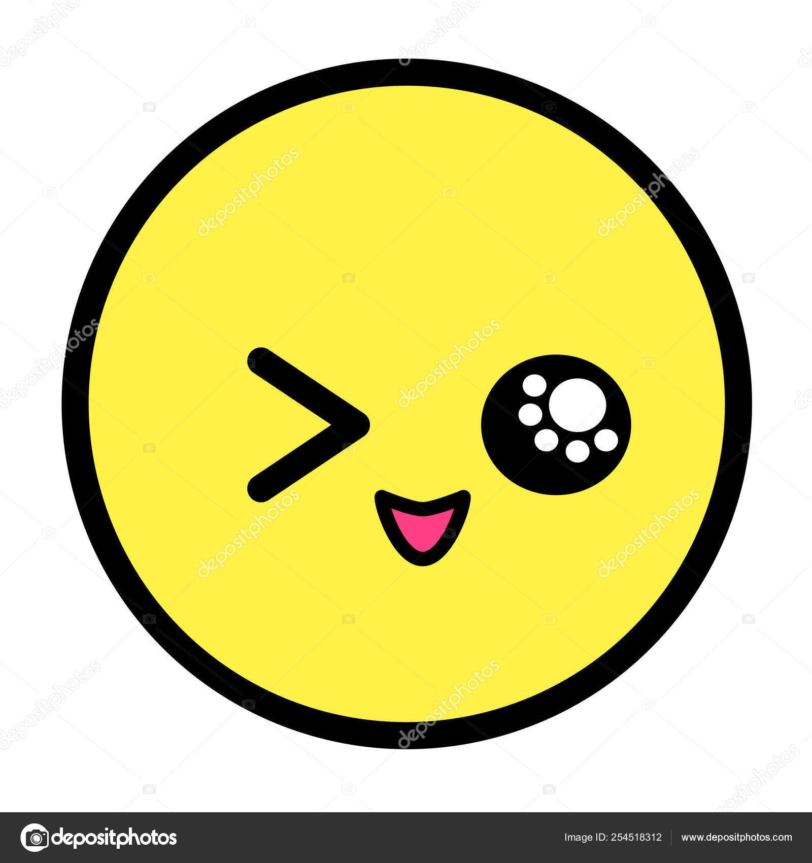 Flat Kawaii Emoji Face Cute Funny Cartoon Character Simple Line
