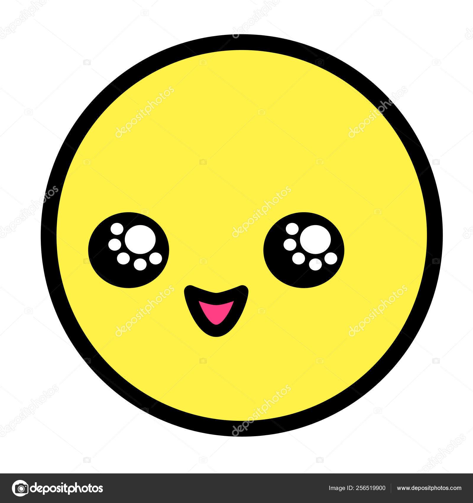 Kawaii Plat Emoji Visage Personnage Dessin Animé Drôle