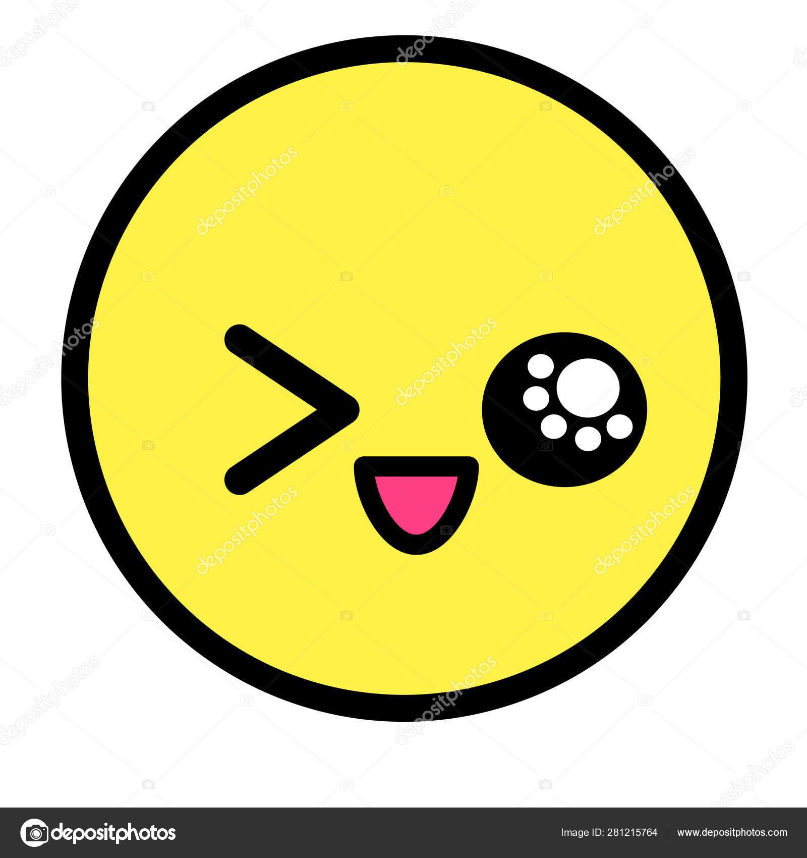 Flat Kawaii Emoji Face Cute Funny Cartoon Character Simple