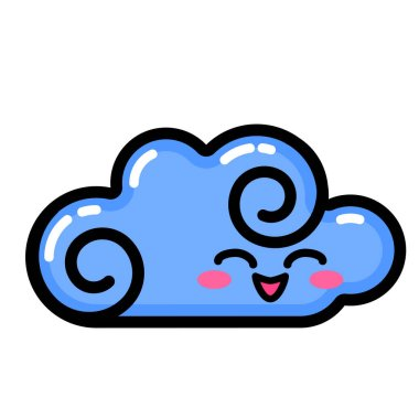 Kawai Cloud. Sign, symbol, web element. Social media icon. Business concept. Tattoo template. Line art. Website pictogram. icon