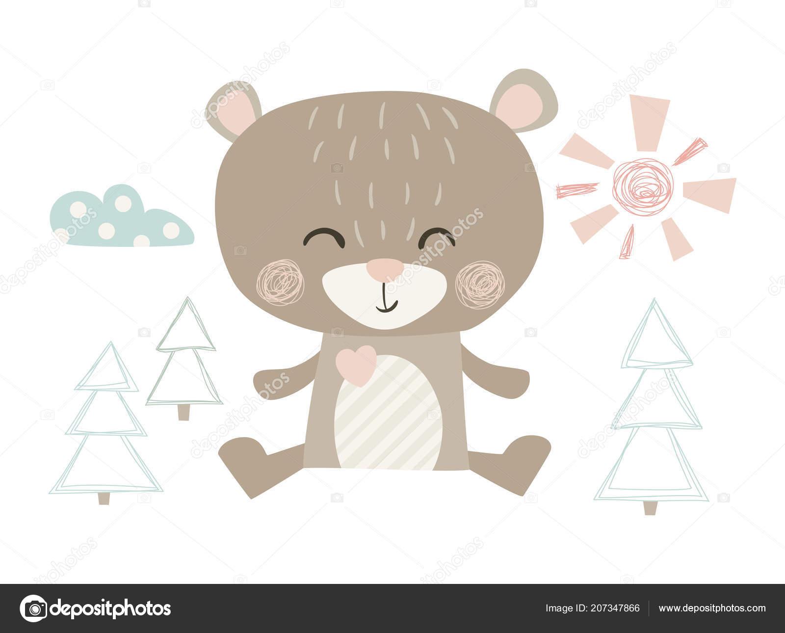 c92670fc Bear cute print — Stock Vector © nordfox #207347866