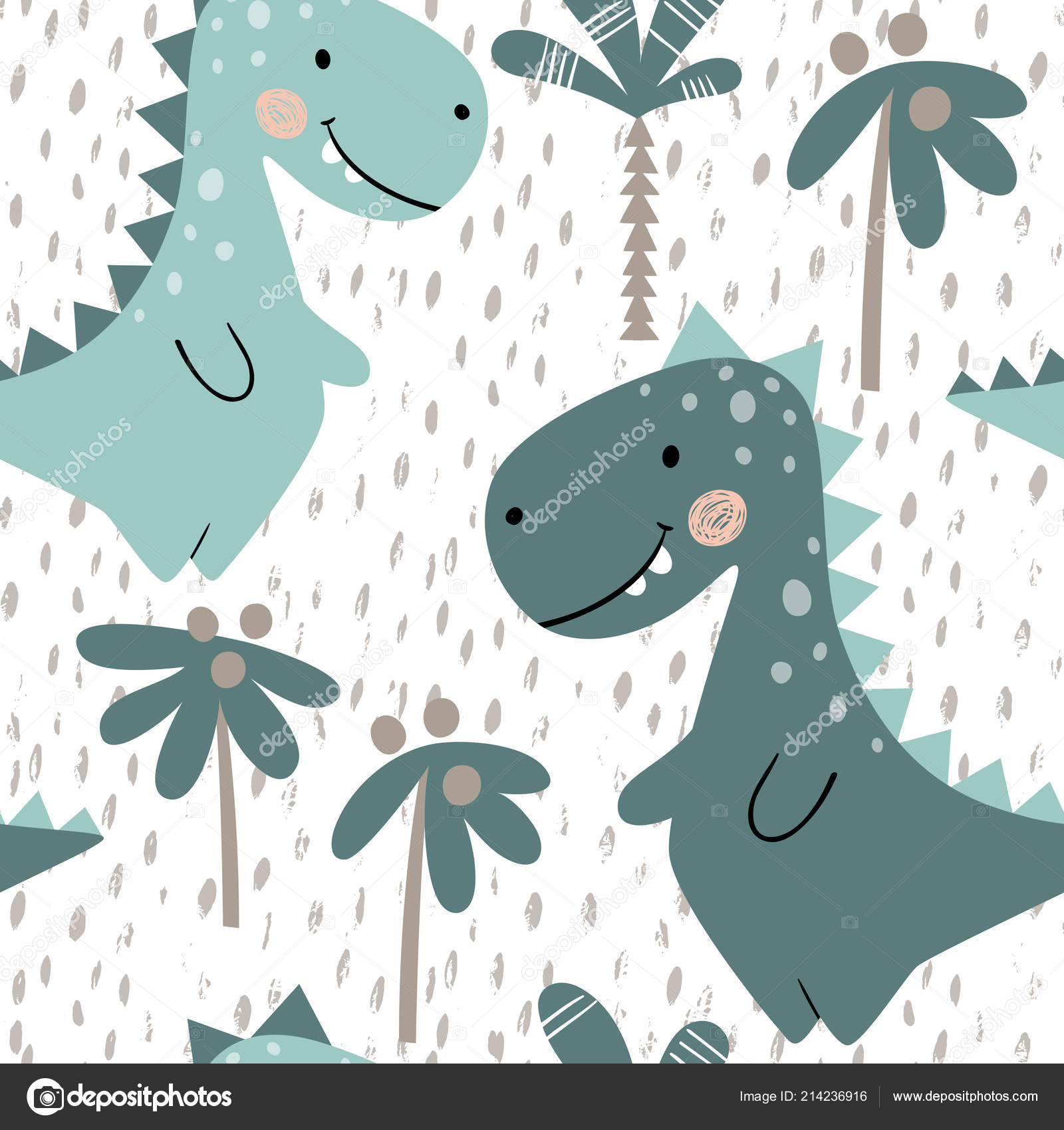 c18e32812 Dinosaur baby boy seamless pattern. Sweet dino with palm. Scandinavian cute  print. Cool t-rex illustration for nursery t-shirt, kids apparel, ...