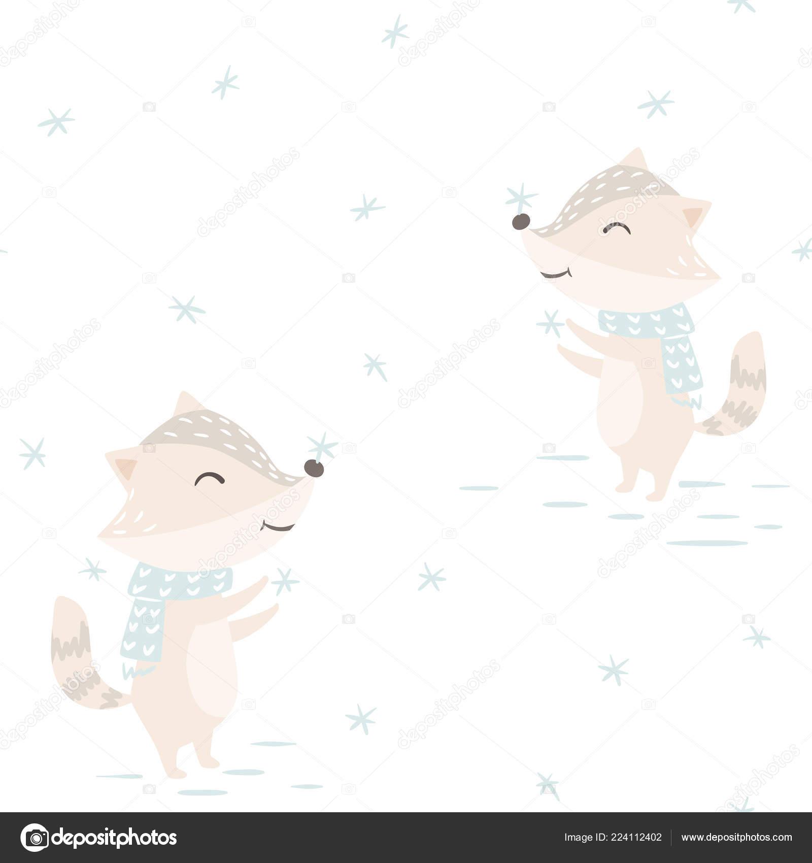 Mapache bebé patrones sin fisuras de invierno. Animal lindo coge ...