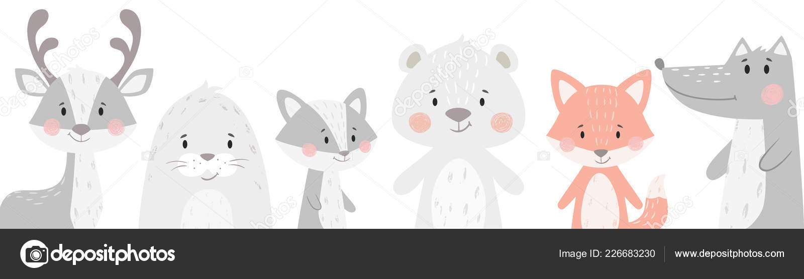 Reindeer, raccoon, seal, wolf, penguin, bear, fox baby winter set