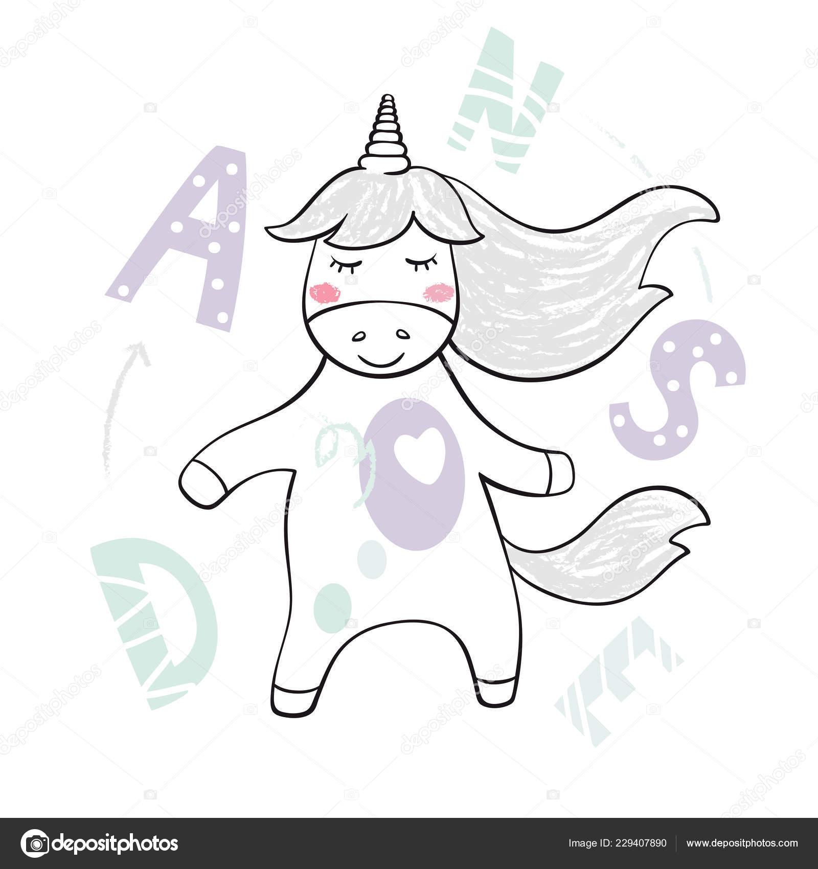 Dancing Baby Unicorno Stampa Simpatico Animale Ascolta Musica Con
