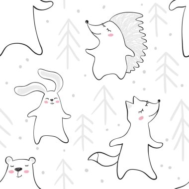 Dancing bear, fox, bunny, hedgehog in forest baby seamless pattern. Cute animal listens to music with fir tree.