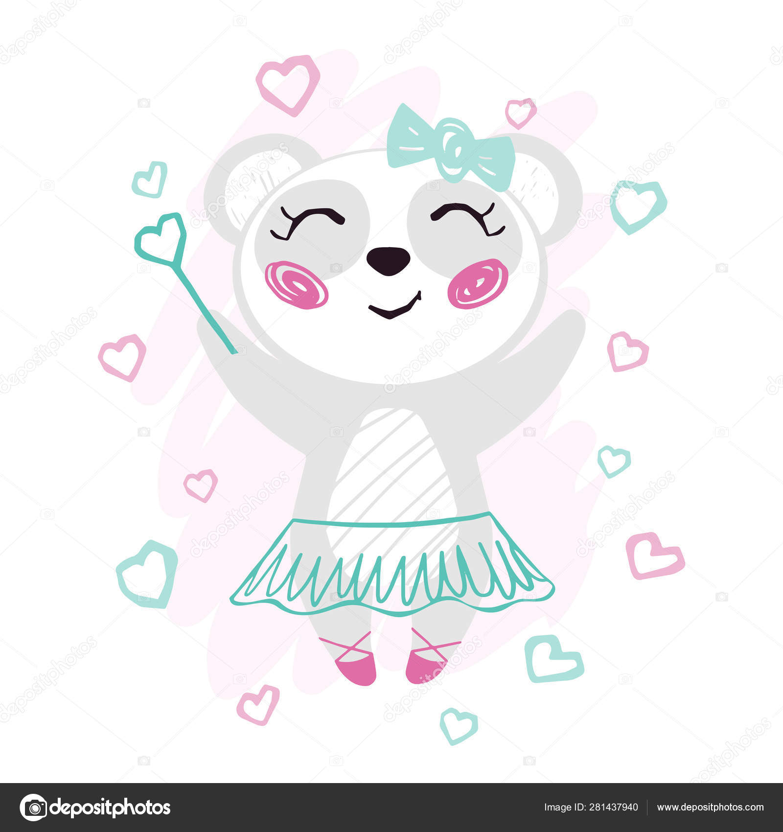Panda Baby Girl Cute Print Sweet Bear With Magic Wand Bow Ballet Tutu Pointe Shoes Stock Vector C Nordfox 281437940