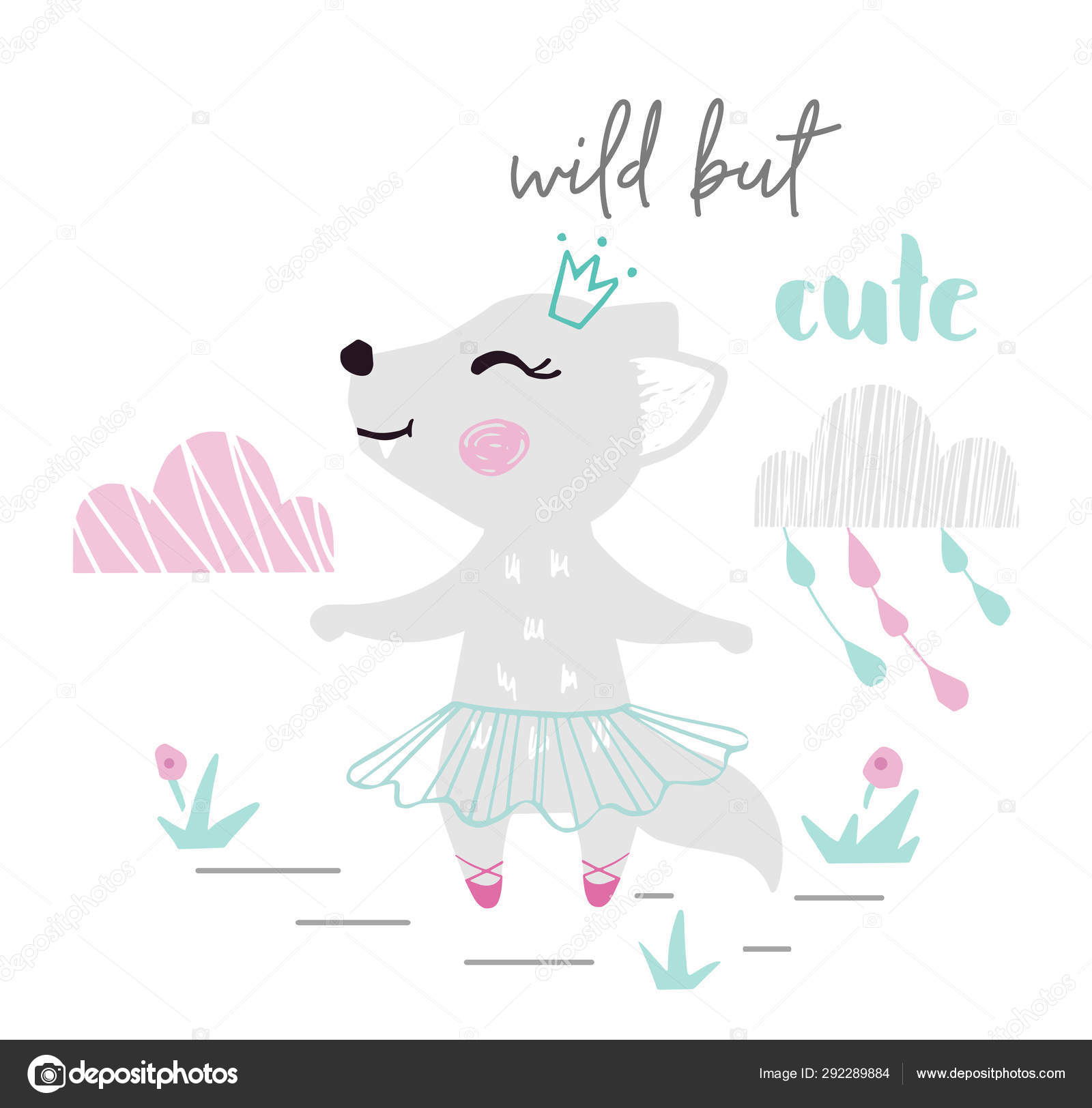 Wolf Baby Girl Cute Print Sweet She Wolf Ballerina Dance With Ballet Tutu Pointe And Wild But Cute Slogan Stock Vector C Nordfox 292289884