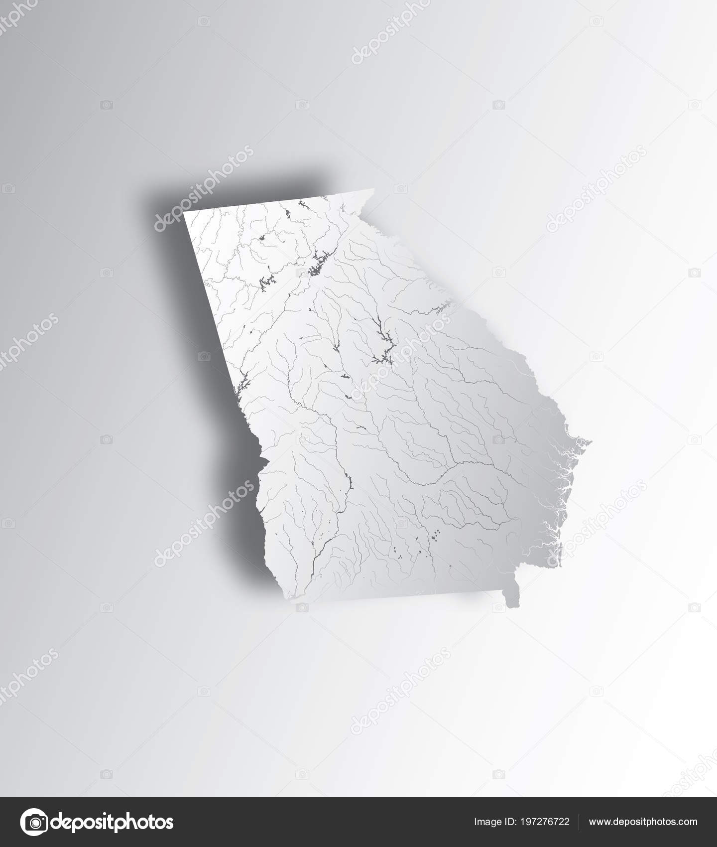 My State Map.States Map Georgia State Paper Cut Effect Hand Made Rivers Stock