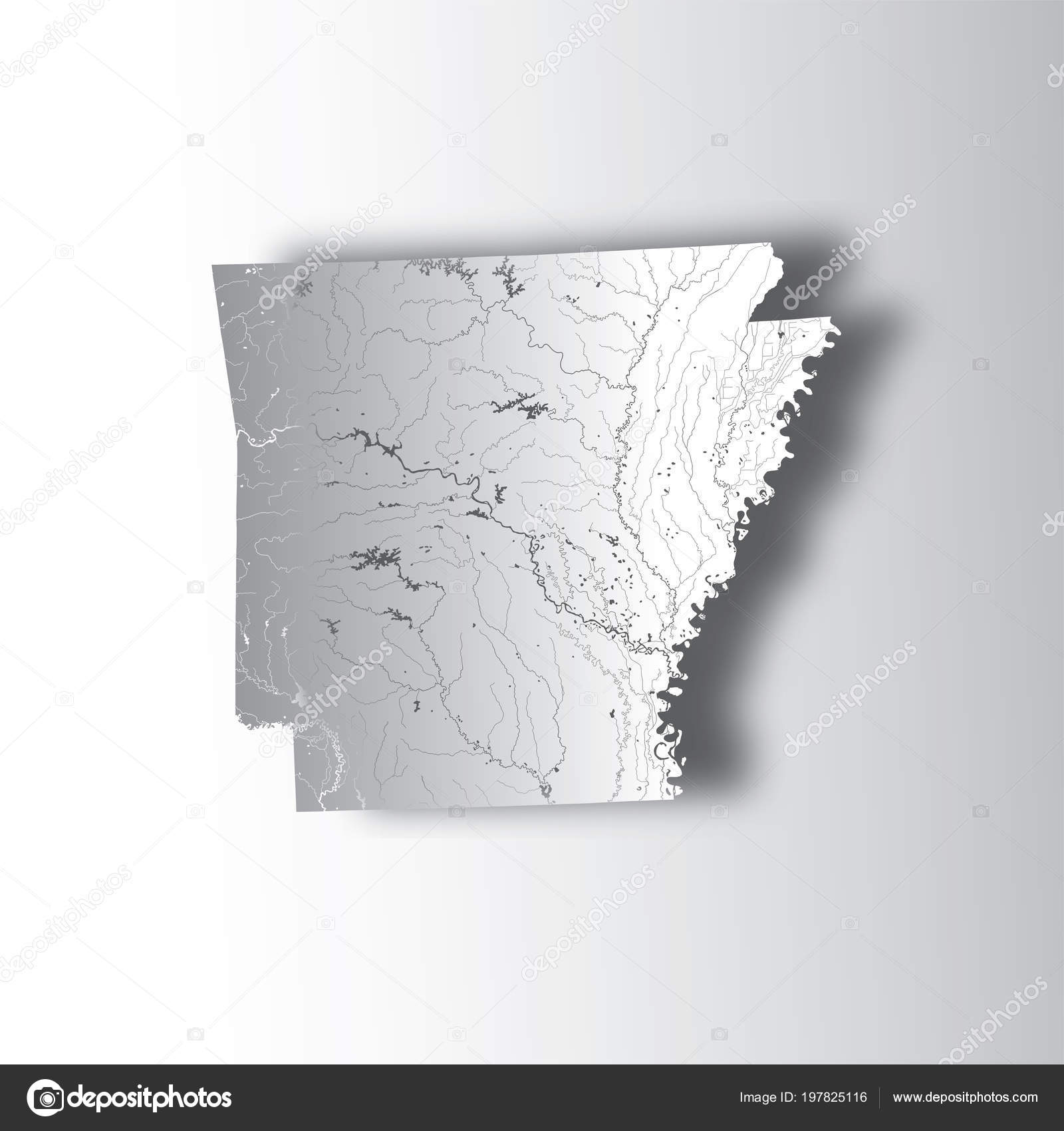 States Map Arkansas Paper Cut Effect Hand Made Rivers Lakes ...
