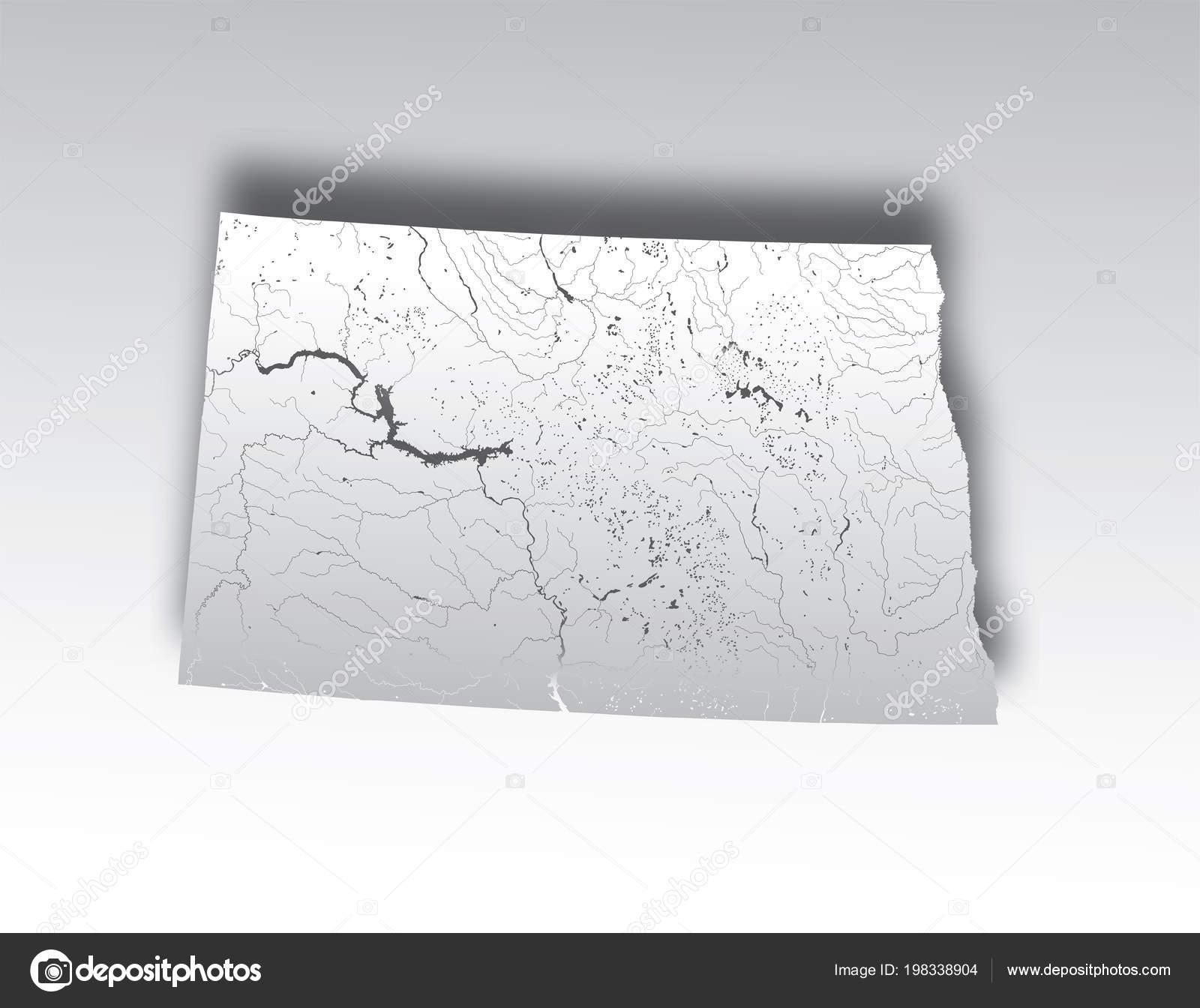 States Map North Dakota Paper Cut Effect Hand Made Rivers ...