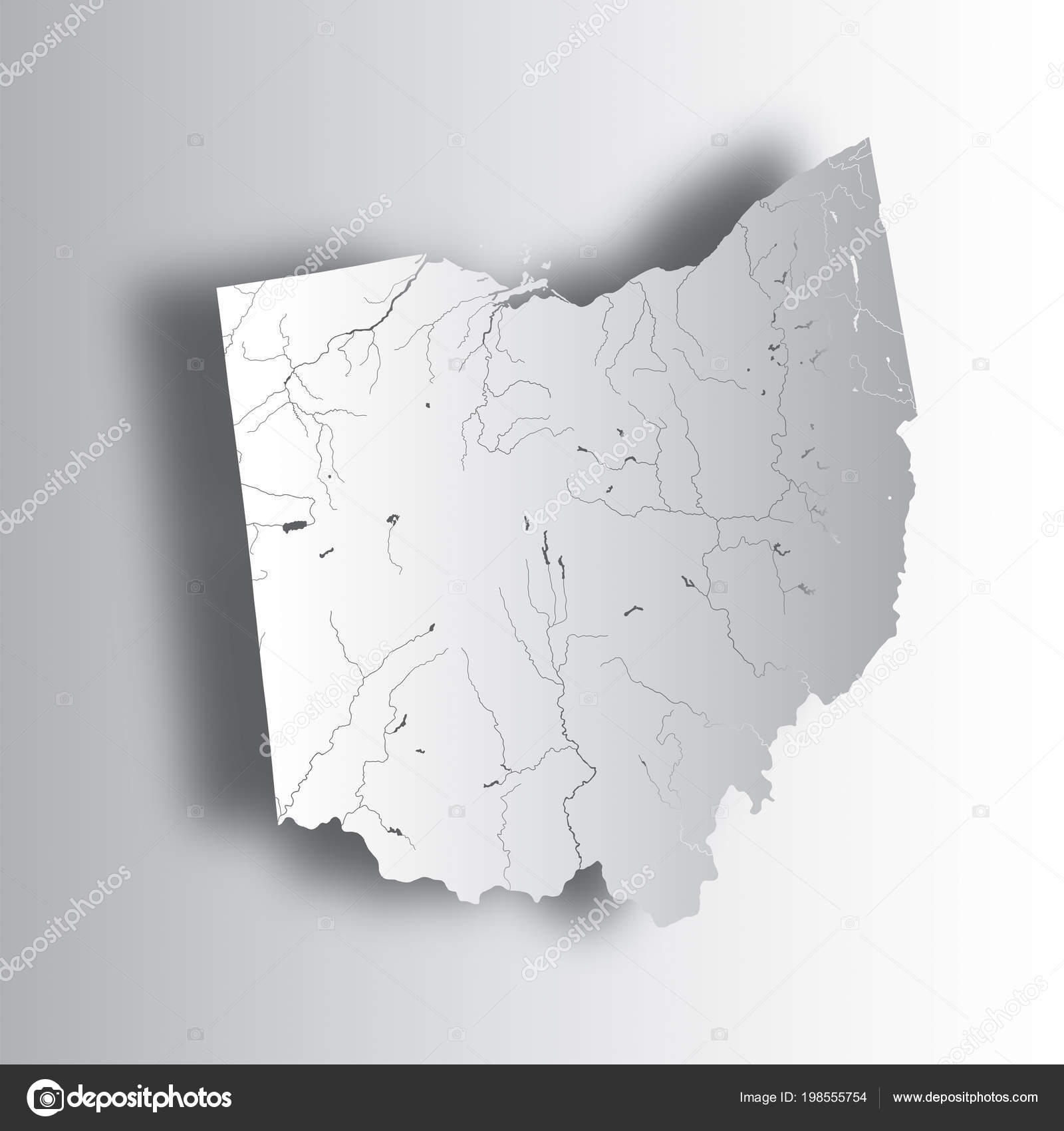 States Map Ohio Paper Cut Effect Hand Made Rivers Lakes ...