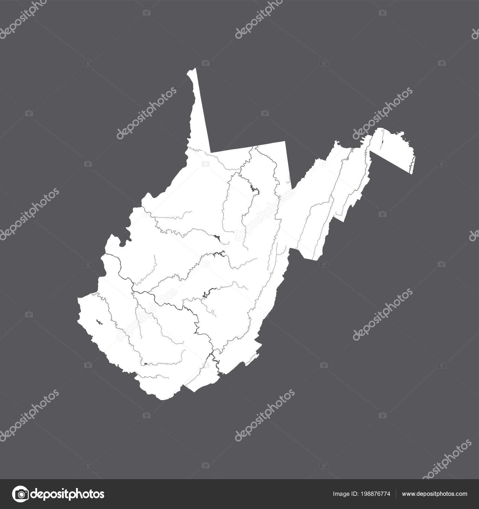 Usa Karte Von West Virginia Hand Hergestellt Flüsse Und Seen ...