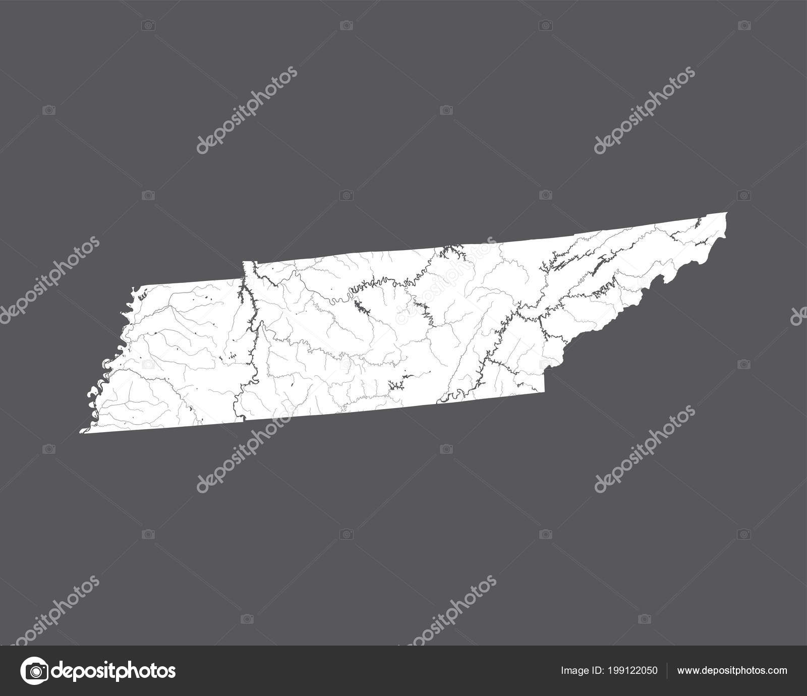 States Map Tennessee Hand Made Rivers Lakes Shown Please Look ...