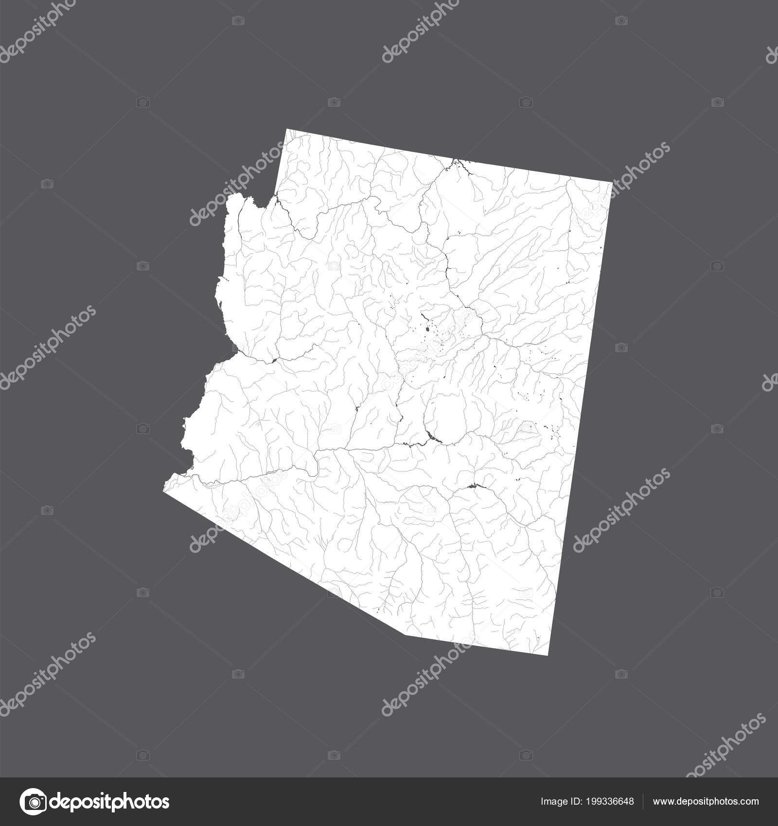 Map Of Arizona Please.States Map Arizona Hand Made Rivers Lakes Shown Please Look Stock