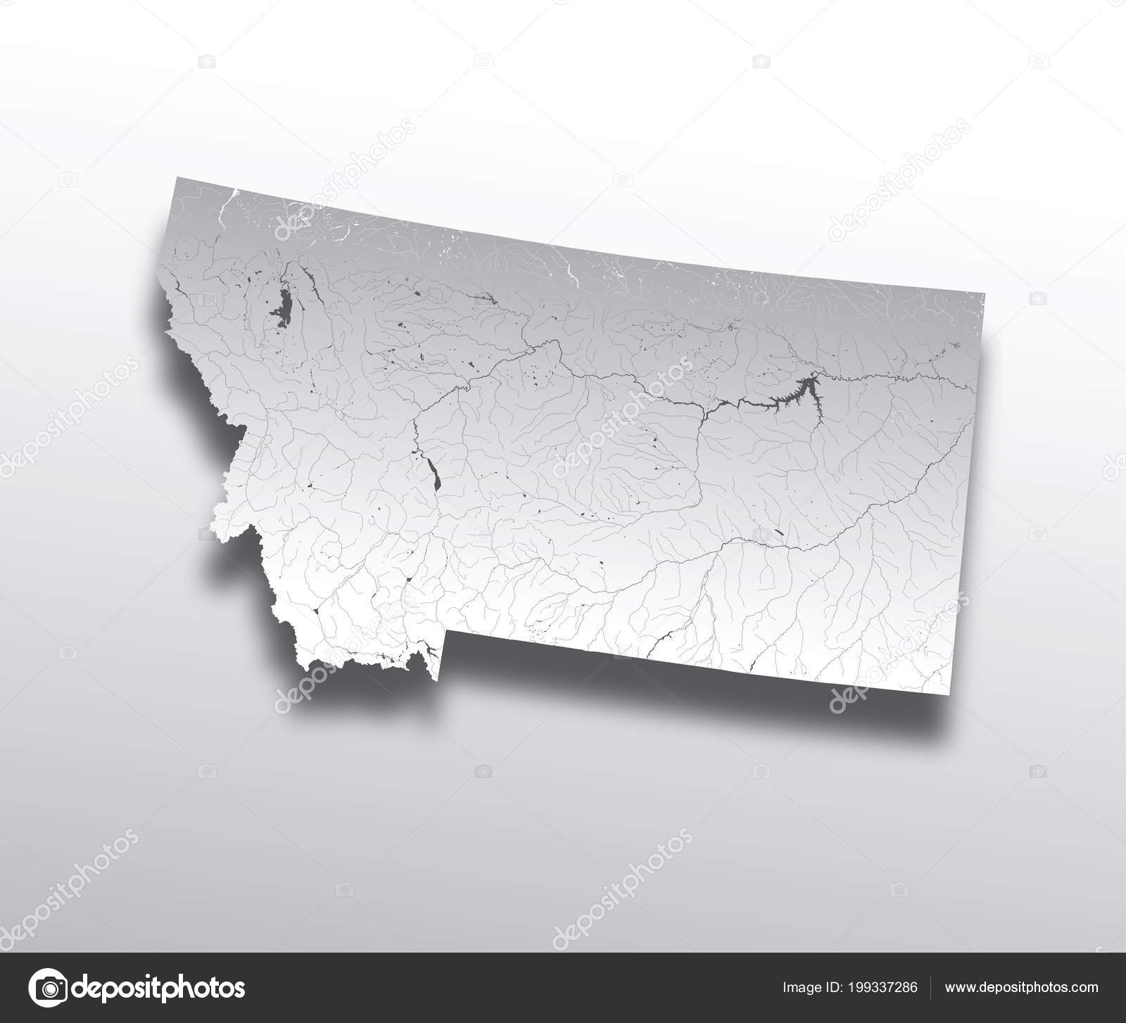 States Map Montana Paper Cut Effect Hand Made Rivers Lakes — Stock ...