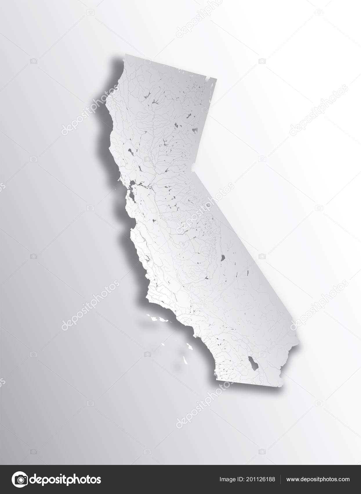 Map Of California Lakes.States Map California Paper Cut Effect Hand Made Rivers Lakes