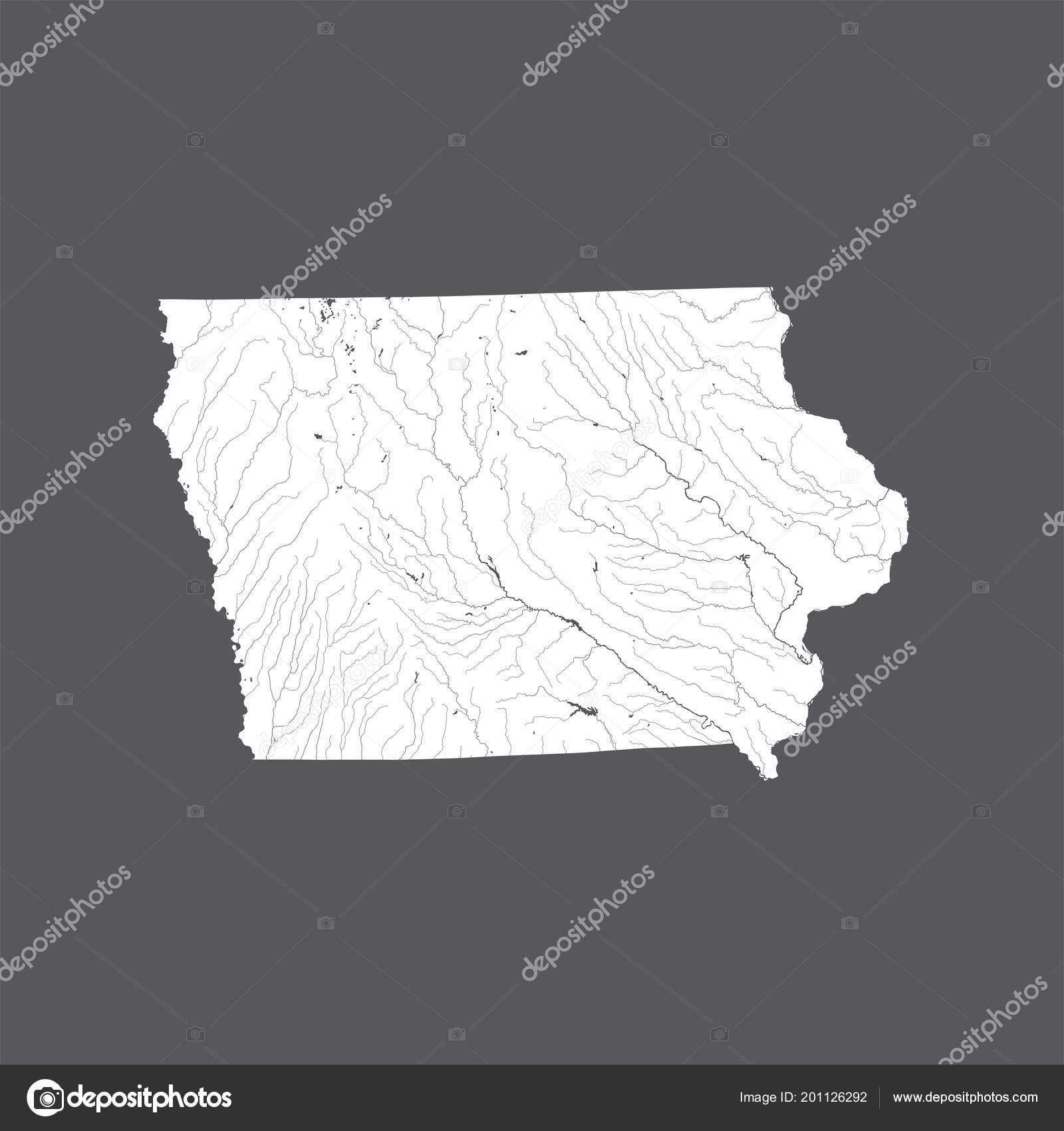 States Map Iowa Hand Made Rivers Lakes Shown Please Look Stock Vector C Mshch1 201126292