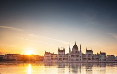 Wonderful sunset over the Hungarian Parliament in Budapest, Hungary