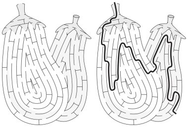 Aubergines maze for kids with a solution in black and white