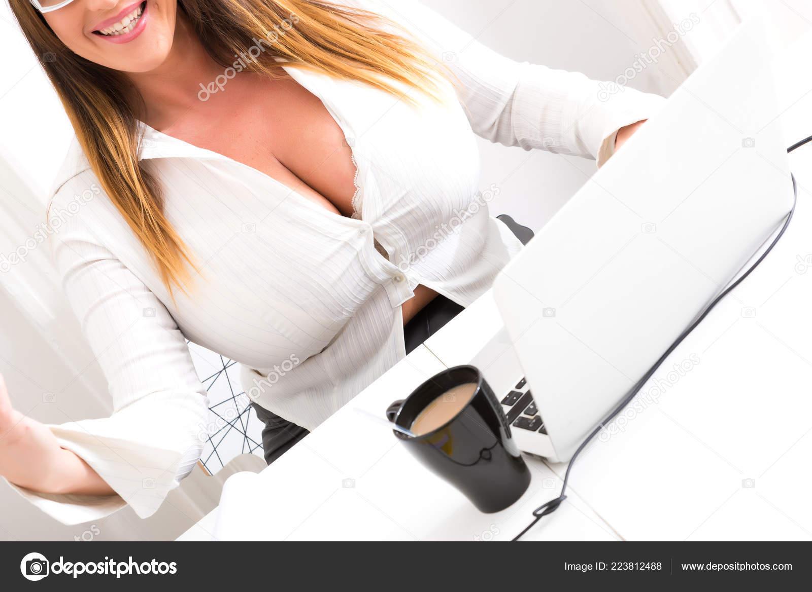Size Big Beautiful Voluptuous Secretary Working Desktop Laptop ...