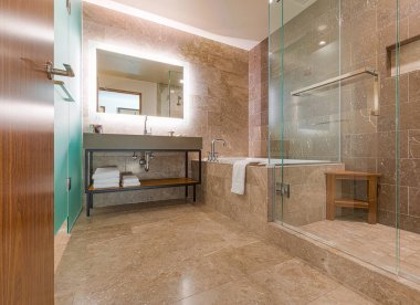 Modern Marble Tiled Bathroom